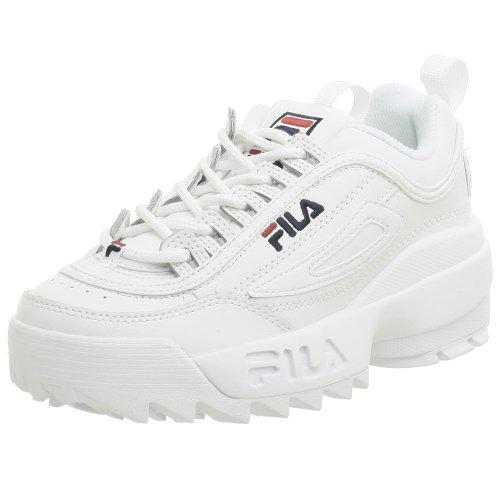 Fila Youth Disruptor II Sneaker,White/Navy/Red,4.5 M US Big Kid