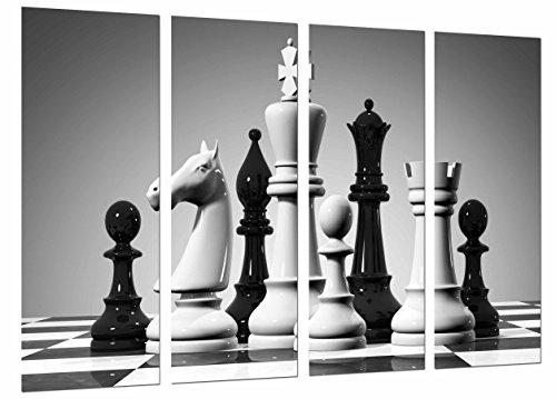 Poster Fotográfico Juego de Mesa Ajedrez, Blanco y Negro, Piezas, Fichas Tamaño total: 131 x 62 cm XXL