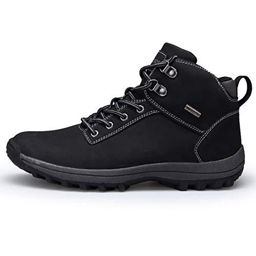 shoe Bottes de Neige d'hiver pour Hommes, Chaussures de randonnée antidérapantes et résistantes à l'usure, Bottes de randonnée Chaudes en Cuir et Velours imperméables, Bottines de Travail d'hiver