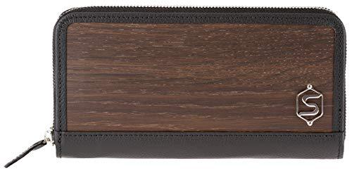 Monedero 'LUCY'   Fabricado con madera auténtica tipo roble ahumado o amazaque y cuero de ternera   Mujer Marrón Negro...