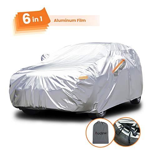 Audew Autoabdeckung Fortschrittliche Verbundwerkstoffe Autoplane Autogarage Aluminiumfolie Autohülle Sonnenschutz Wasserdicht das ganze Jahr Staubdicht ,für 470cm-505cm Schrägheck Auto 2.8-3.2kg