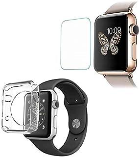 غطاء شاشة شفاف لهاتف Apple Watch 2 في 1 وواقي شاشة زجاجي مدبب لهاتف Apple Watch 42 مم
