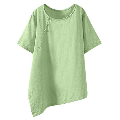 CUTUDE Haut Femme Blouse Manches Courtes Casual Été O-Cou Ourlet Irrégulier Bouton Coton et Lin T-Shirts Tops Polo Gilet Tunic Chemise (XXXL, Vert)