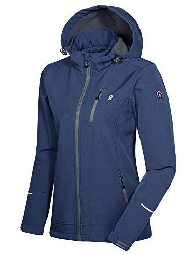 Little Donkey Andy Damen Softshell Jacke Skijacke mit Abnehmbarer Kapuze, Fleecefutter und wasserabweisend Grau Blau L