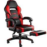 TecTake 800769 Chaise Gaming Confortable, Fauteuil de Bureau Ergonomique, Dossier Réglable, avec Repose-Pieds - Plusieurs Couleurs - (Noir-Rouge | No. 403463)