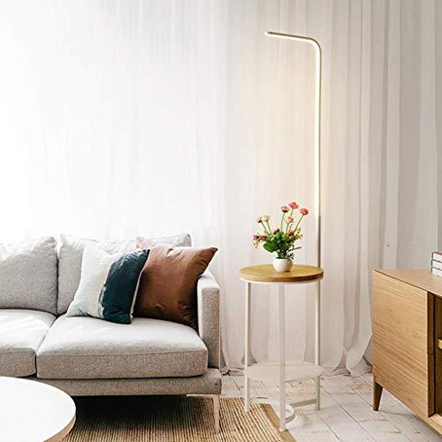 MY1MEY Standleuchte Home mall- Moderne LED Stehleuchte | 14W Stehlampe Dreifarbige Dimmung mit Holzschale für Wohnzimmer Schlafzimmer 164X36cm (Farbe : Weiß)