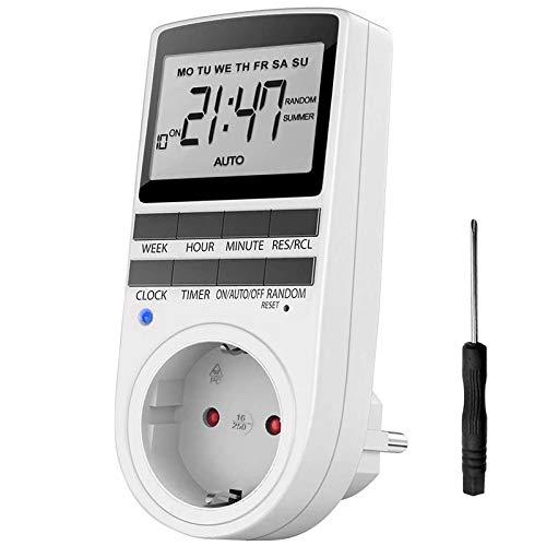 iKALULA Zeitschaltuhr, Digitale Zeitschaltuhr Steckdose LCD-Display Programmierbare Timer Steckdose Digitale Zeitschaltuhr mit 10 konfigurierbaren Programmen Zufallsschaltung Digital Timer Schalter