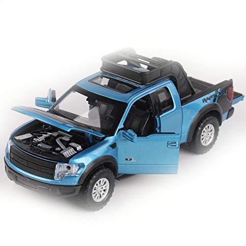 NMBD para Ford F150 Raptor Offroad Modelo De Coche Diecast Truck Pickup Light Music 4 Puertas Abiertas Coche De Juguete SuperWheel Auto Mobile Toy Car Colección (Color : Blue)