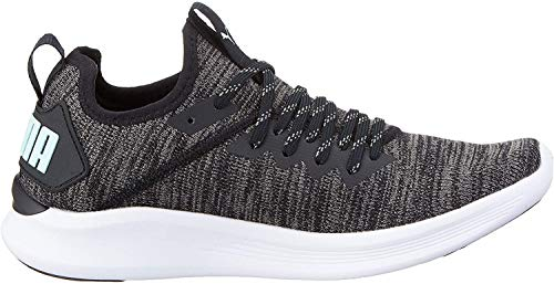 Puma Damen Ignite Flash Evoknit WN's Laufschuhe, Schwarz Black-Charcoal Gray-Fair Aqua, 39 EU