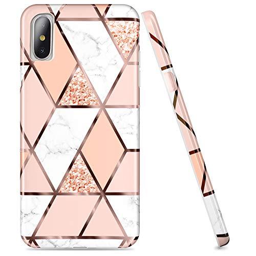 DOUJIAZ Schutzhülle für iPhone X / XS, mit Glitzer, Marmor-Design, transparent, glänzend, TPU, weiches Silikon, Rotgoldenes Gitter