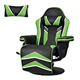 YODOLLA Gaming Chair Recliner Racing Chair with Vibration Massage Function, Ergonomic Adjustable Backrest and Footrest Swivel Faux Leather Computer Office Chair with Cup Holder and Side Pocket, Green