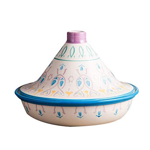 Tonauflauf Mini-Tajine-Topf bemalter Keramik-Auflauf-Tontopf mit Deckel original marokkanischer handgemachter Ton-Kochteller Kochgeschirr für langsames Kochen B 25 * 18 5 cm