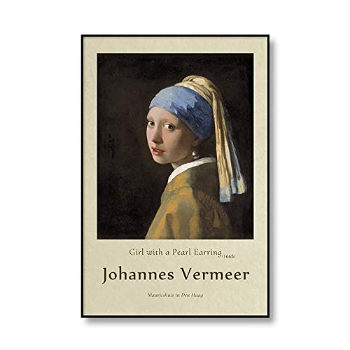 Chica de Johannes Vermeer con pendientes de perlas, carteles de exposición e impresiones, arte retro, pared, hogar, lienzo sin marco, pintura A4 60x90cm