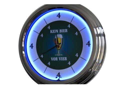 Neon Uhr Kein Bier vor Vier Wanduhr Deko-Uhr Leuchtuhr USA 50's Style Retro Uhr Neonuhr