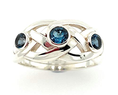 Women Three-Stone Celtic Ring with Blue Topaz in Sterling Silver (N)