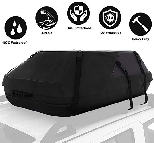 15 Cubic Feet Thickened Car Cargo Roof Bag- Waterproof Universal Soft Rooftop Bag Luggage Carriers for Car with/Without Racks