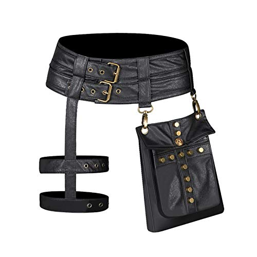 Anmy Riñonera Steampunk Señoras Europeas Y Americanas Motocicleta PU Bolsa de Cintura Retro Ropa Accesorios Bolsa de Cintura Negro (Color : Black, Size : One Size)