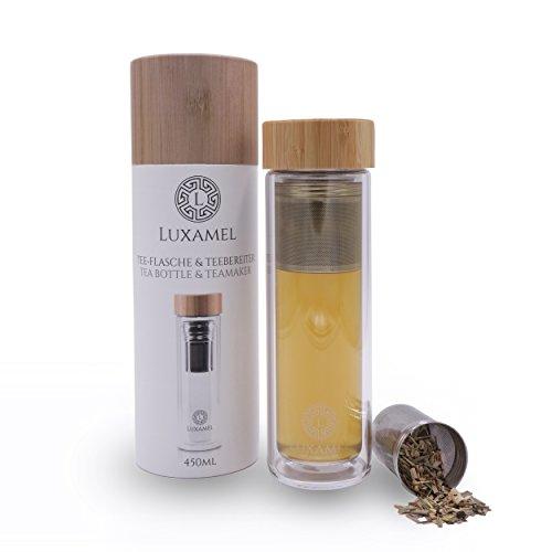 Luxamel | Teeflasche/Teebereiter aus Glas | Doppelwandig mit Sieb und Bambus Deckel | Im exklusivem Geschenkkarton | BPA-frei | 450 ml