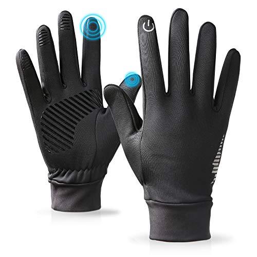 ANKOUJA Handschuhe Herren Damen Touch Screen Softshell für Fahrrad Jogging Fitness Herbst Winter Früher Frühling Anti-Rutsch Schwarz