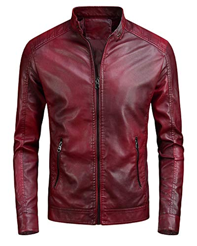 Mens Quilted Leather Moto Jacket Red