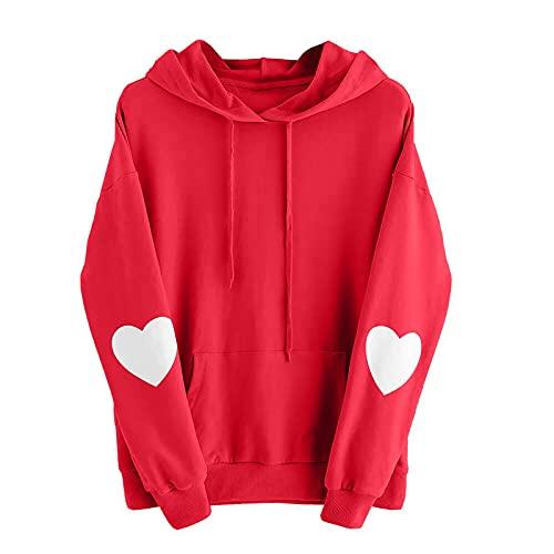 URIBAKY - Sudadera con capucha y capucha, diseño de corazón de manga larga para mujer, sudadera con capucha, rojo A, XL