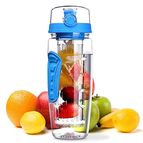 ASDFG Bpa-Free Fruit Injector Water Fles Sap Blender Sport Lemonade Fles Fitness Sport Meisje Fruit Drinkfles, Blauw 1000Ml