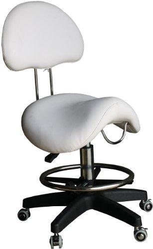 Figaro Tabouret à selle sur roulettes avec vérin pneumatique et pied en plastique Noir wei