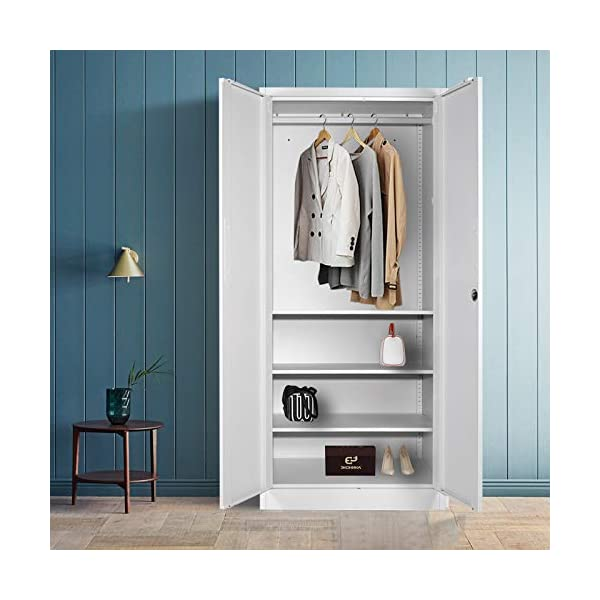 Steel Wardrobe with Clothes Rail,Double Doors and 3 Adjustable Shelves,Lockable...