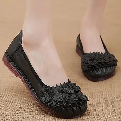 TER Zapatos Oxford cómodos de Moda 2021 para Mujer, Zapatos de Cuero Genuino, Zapatos Planos para Mujer, Mocasines de Cuero para mamá, Mocasines de Cuero para Mujer