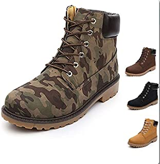 Men's Hiking Boots Camouflage Martin Ankle Boots Stylish Men Shoes Military High Top Boots British Style Size 39-46(Black,42)