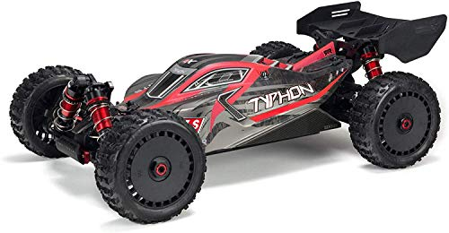 ARRMA RC Car 1/8 Typhon 6S V5 4WD BLX Buggy with Spektrum Firma RTR (Ready-to-Run), Black and Red, ARA8606V5