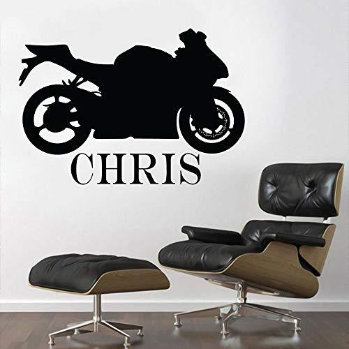 yaonuli Custom Name Sport Fahrrad Wandtattoo Vinyl Kunst Fahrrad Aufkleber für Zuhause und Auto Garage Dekoration 74x52cm