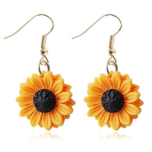 Handmade Resin 4D Sunflower Daisy Flower Drop Dangle Earrings Wooden Little Daisy Flower for Women Girls You are My Sunshine Summer Boho Jewelry-3