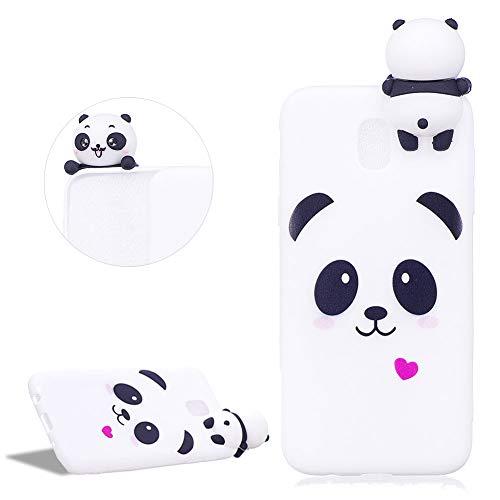 DasKAn Moda Custodia per Samsung Galaxy J530/J5 2017,Carino Bianca Panda 3D Cartoon Animale Bambola Disegno Indietro Cover AntiGraffio Flessibile Morbido TPU Silicone Custodia per Galaxy J530/J5 2017