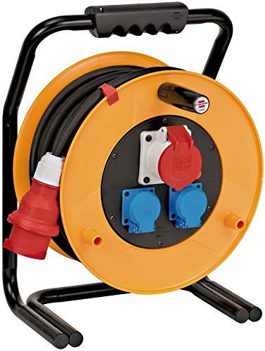 Brennenstuhl Brobusta CEE 1 IP44 Kabeltrommel (CEE-Kabeltrommel mit 40m Kabel in schwarz, aus Spezialgummi, für den ständigen Einsatz im Außenbereich, Made in Germany)