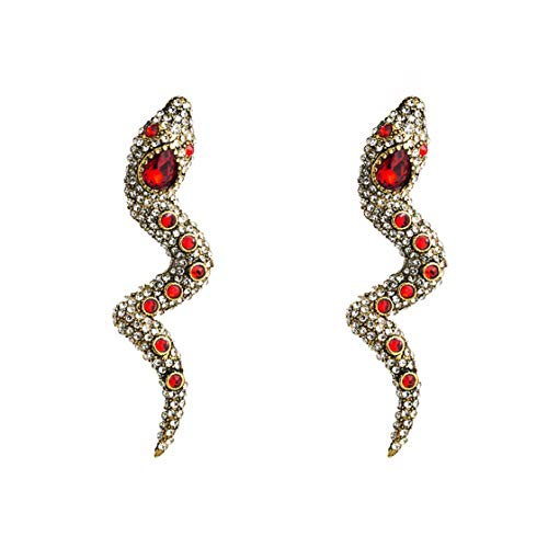 Jessicadaphne Pendientes con Forma de Serpiente con Personalidad para Mujer, Clip para Oreja sin perforar, aleación Larga, Diamantes completos, Super Flash, Pendientes creativos