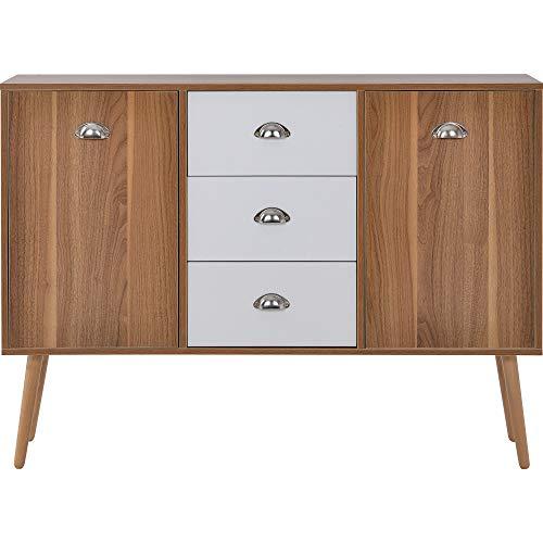 Aparador de almacenamiento, mueble de madera, aparador moderno con 3 cajones, 2 puertas, armario de almacenamiento para sala de estar y pasillo