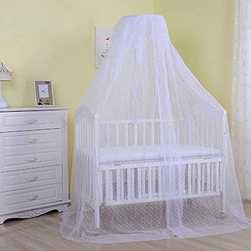 Cdycam Baby Infant Toddler Bed Dome Cots Mosquito Netting Hanging Bed Net Mosquito Bar Frame Palace-Style Crib Bedding Set (White Mosquito Netting Only, Without Stand)