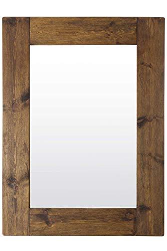 Espejo de Pared Grande rústico de Madera Maciza marrón, 122 cm x 91 cm