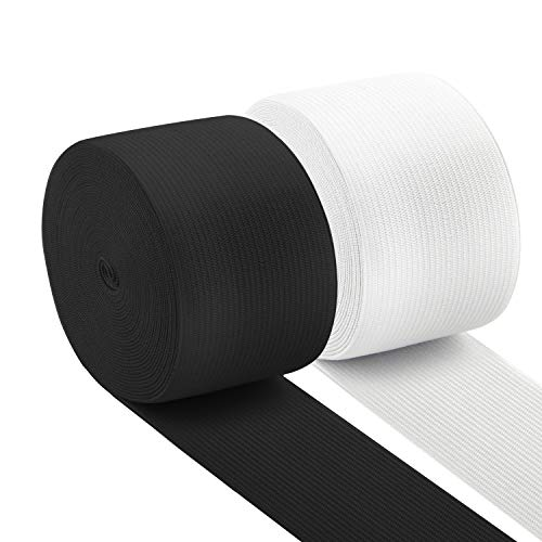Coopay 11 Yards 2 Inch High Elastic Spool Knit Elastic Bands for Sewing, 2 Rolls, 5.5 Yards/Roll (Black and White, 2 Inch)