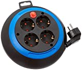 Brennenstuhl Comfort-Line enrollacables doméstico con 4 enchufes (cable de 3 m, alargador eléctrico enrollable, para uso al hogar) negro/azul