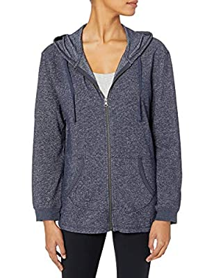 Hanes Women's French Terry Full-Zip Hoodie, Navy Heather, Small