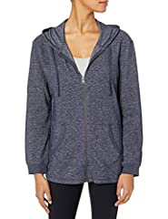 Zip-front drawstring hoodie in French terry fabric with brushed inside for extra softness Split kangaroo pouch pockets Tagless collar