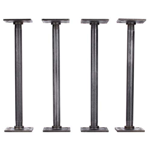 PIPE DÉCOR 1/2' X 12' Table Legs with New Square Flanges Set of 4 Authentic Industrial Pipes for Custom Vintage Furniture, Tables, and Desks Rustic DIY KIT with Hardware (12 inch)