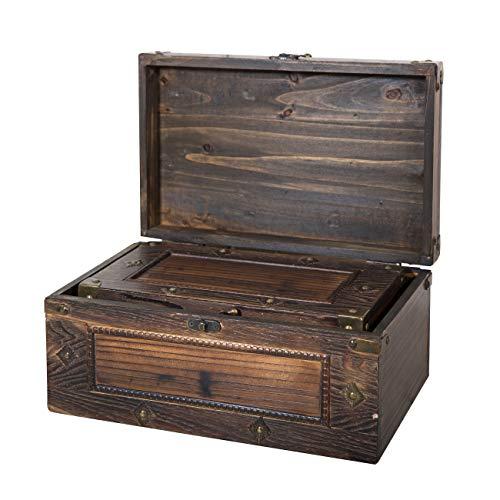 Soul & Lane Branson Decorative Wooden Storage Chest - Set of 3 | Suitcase Shaped Wood Chest Trunk