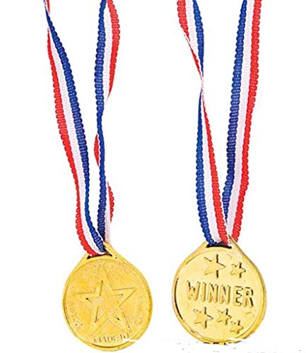 12 KIDS OLYMPIC GOLD WINNERS MEDALS PARTY GAMES BAG PRIZES GIFTS, Gold by Partyrama