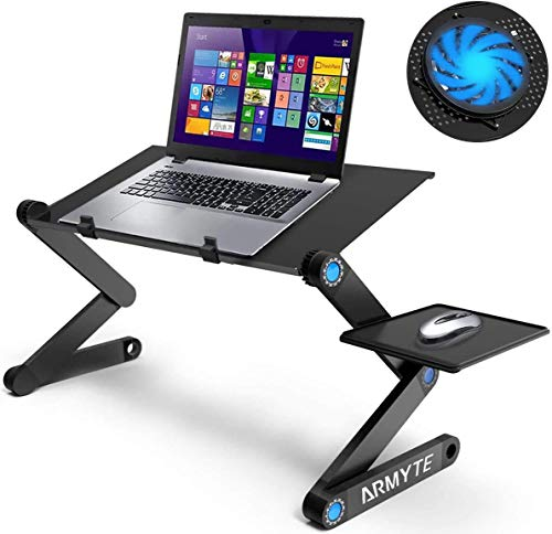 Extra Wide Adjustable Laptop Stand Desk with Cooling Fan & Mouse Pad for 17 Inch Computer, Portable Ergonomic Lap Desk for Bed Sofa Couch Office (Aluminum Table Tray: 48×26cm, Black)