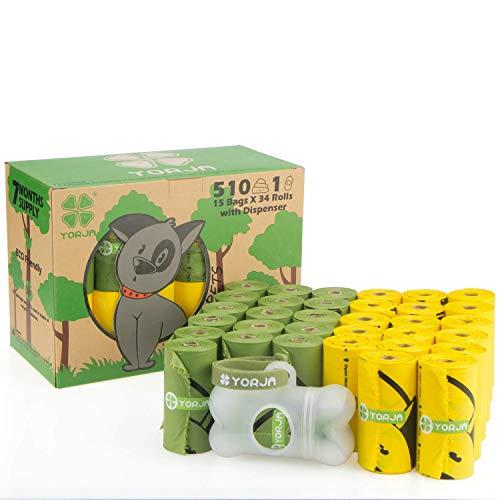 YORJA Bolsas Excrementos Perro Dispensador,34 Rollos/510