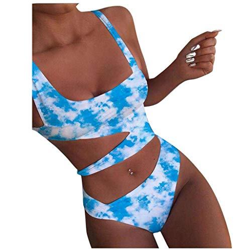Geilisungren Damen Badeanzug Mode Tie-Dye Monokinis Einteilige Bikini Sexy Cutout Aushöhlen Strandmode Swimsuit Schwimmanzug Badebekleidung Swimsuit Swimwear