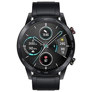 Honor MagicWatch 2 46 mm Smart Watch, con monitor de ritmo cardíaco y estrés, modos de ejercicio, aplicación para correr y altavoz y micrófono integrados, color negro/carbón